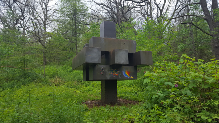 Sculpture surrounded by nature in High Park
