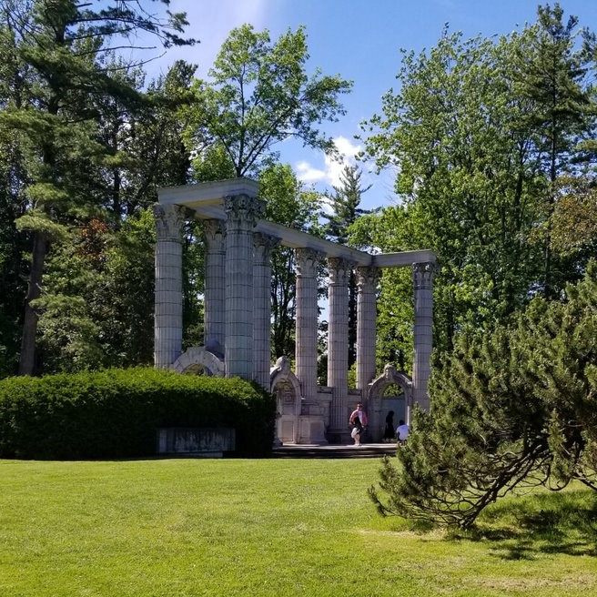 The Guild Park with columns and trees