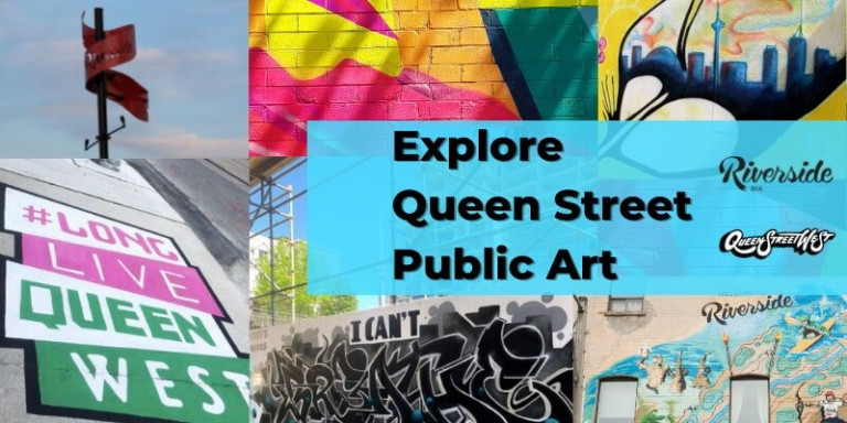 Images of Queen West murals in a collage