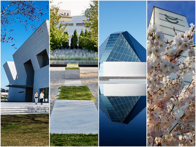 Exteriors of the Aga Khan Museum + Ismaili Centre Toronto + Japanese Canadian Cultural Centre