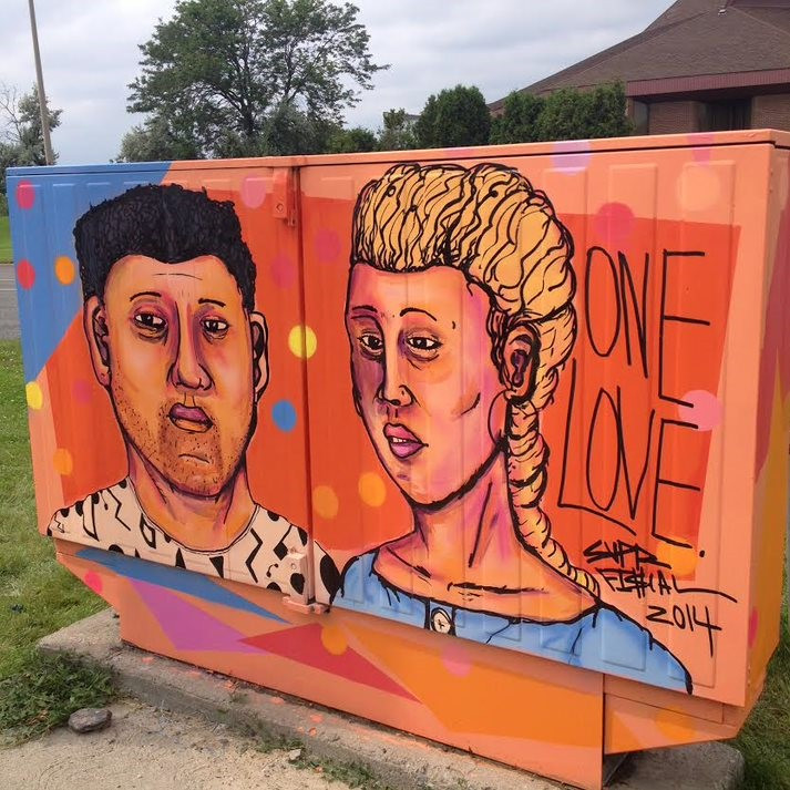 Two faces on a orange background painted on a Bell box