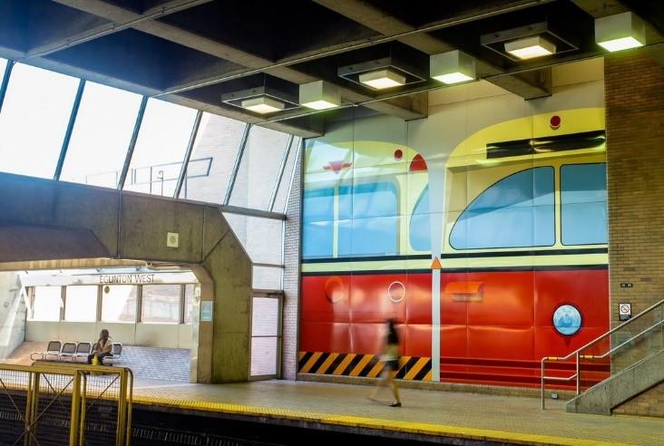Mural of TTC streetcar inside a TTC station