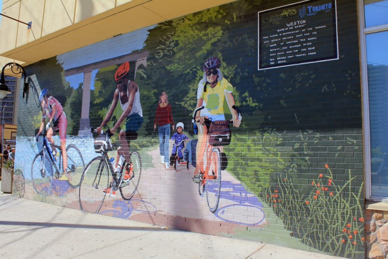 Mural of cyclists
