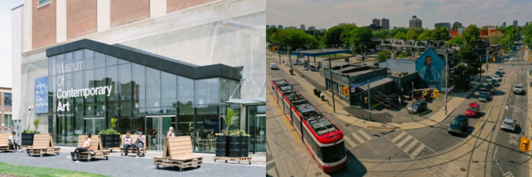 Images of the MOCA gallery with benches outside the building and a corner of a City street with a red streetcar