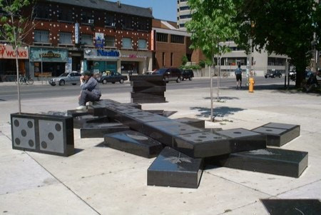 Susan Schelle & Mark Gomes Domino installation at the corner of Bloor and Spadina